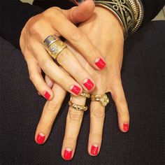 A classic, sexy bright red negative space moon in @rgbcosmetics Too Red on @nicolefullerinteriors? #MoonManiMonday
