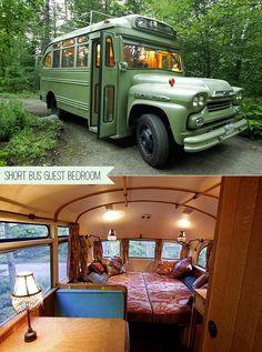 REPURPOSED - Turn Vintage Short Bus Into Backyard Guest Bedroom