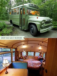 REPURPOSED - Turn Vintage Short Bus Into Backyard Guest Bedroom. I want this so bad.