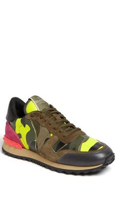 Valentino Camo and Neon Sneakers Sneakers Fashion, Neon Sneakers, Fashion Shoes, Valentino Garavani Sneakers, Valentino Trainers, Valentino Camo, Basket Sneakers, Shoe Boots, Shoes Sandals