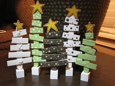 wooden christmas trees...would be cute for kids to paint each one differently and make a collection.