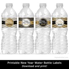Free Printable Water Bottle Label Template Awesome 2020 New Years Eve Party Water Bottle Labels Digital Art Star - Professional Templates Address Label Template, Label Templates, New Years Hat, Make Your Own Labels, Printable Water Bottle Labels, Baby Shower Labels, New Years Eve Decorations, Graphic Design Programs, Gold Water
