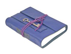 Purple Leather Journal with Skeleton Key Bookmark  by boundbyhand