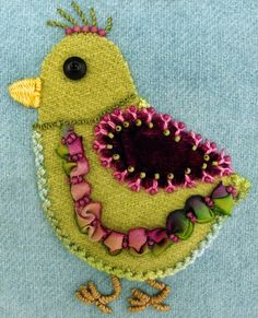 Robin Atkins embroidered, wool applique chicks love the ruched ribbon