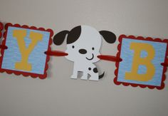 Puppy Dog Birthday Banner primary colors by scraptags on Etsy, $21.99