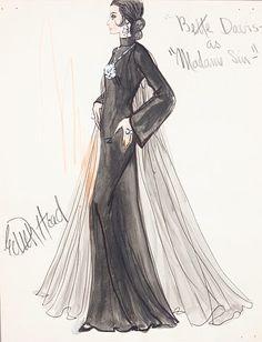 Edith Head sketch for Bette Davis as Madame Sin (1972 ABC TV Movie)