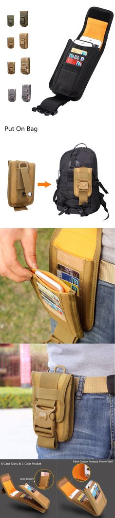 [$ 11.90] 6 Inch Outdoor Tactical Phone Holder Card & Coin Pocket For Men