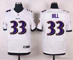 Men's Baltimore Ravens #33 Will Hill White Road NFL Nike Elite Jersey