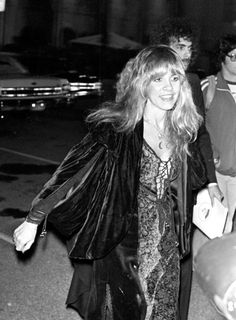 Stevie Nicks's Style Evolution: 15 of Her Grooviest, Witchiest Looks | Vogue Members Of Fleetwood Mac, Rumours Album, Music Icon, Stevie Nicks, Embellished Dress, Leather And Lace, Bohemian Style, Style Icons, Harry Styles