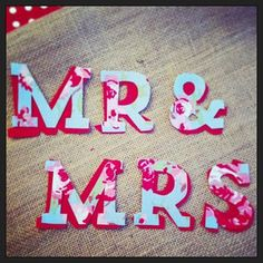 """MR & MRS"" cotton on burlap/hessian by www.emma-bunting.co.uk"