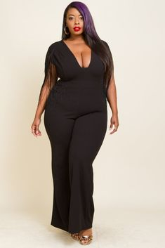 "Plus Size Fringe Arming Back zip up V Neck Jumpsuit Model is 5'6"" wearing a size 2x"