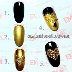 Gold and black nail art design
