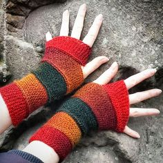 These mitts basically consist of a 10-stitch wide strip that winds around the wrists and hands. The strip is attached as you work, s...