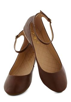 Dessert Dash Flat in Cocoa   Mod Retro Vintage Flats   ModCloth.com Black Ballet Flats, Black Flats, Striped Flats, Ballerina Shoes, Ballet Shoes, Collar Dress, Ankle Straps, Cute Shoes, Me Too Shoes