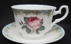 Vintage Rose Teacups and Saucers
