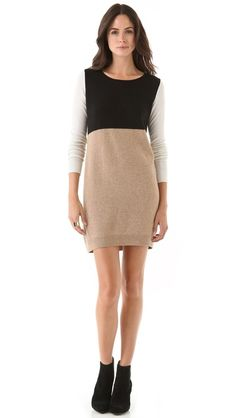 "@Club Monaco ""Kaylee"" sweater dress  Oh this looks so comfortable & cute.  I love the color blocking & choice of color.  Perfect everyday piece."