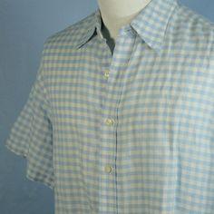 Robert Graham R&G Sky Blue Gingham Airy Cotton Short Sleeve Cruise Shirt Mens L #RobertGrahamRG #ButtonFront
