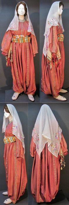 A traditional daily costume from the Konya province.  Middle-class urban style, worn at home, ca. 1900.  The silk ensemble ('gömlek'/shirt + 'şalvar'/baggy trousers) is embroidered with delicate 'gold' metallic thread.  The large embroidered 'yazma' (headscarf) and the silk 'kuşak' (waist band) date from the early-20th century too.  (Kavak Costume Collection - Antwerpen/Belgium).