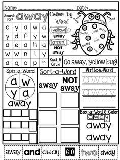 Fun -tastic sight words: Pre-primer version. Master those sight-words the fun way. Provides seven different activities on one page! Word Search, Color-by-Word, Read & Circle, Spin-a-Word, Sort-a-Word, Write-a-Word and Box-a-Word. Fun! Fun! Fun!