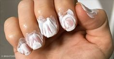 Half-moon manicure       © kenh14         Use paper hole reinforcers to create perfect half-moon nail art.     Lace nails       © nihrid...