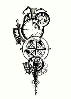 Clockwork tattoo- I like the elements of this one Forarm Tattoos, Body Art Tattoos, Tattoo Drawings, Sleeve Tattoos, Tattoo Thigh, Clock Drawings, Wrist Tattoo, Pencil Drawings, Trendy Tattoos