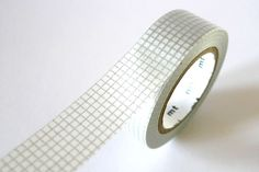 Grey SILVER GRID Washi Tape 15mm Japanese MT Masking Tape - PrettyTape