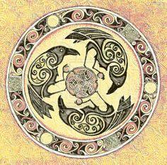 Morrigan Crest 9 copy by on DeviantArt Crow Art, Raven Art, Celtic Symbols, Celtic Art, Celtic Knots, Vikings, Graphic Pattern, Viking Art, Viking Woman
