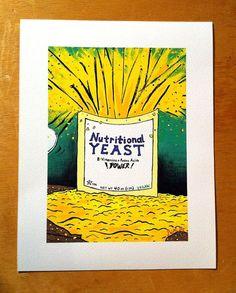 vegan nutrition | Nutritional Yeast vegan art print by JasonWaclawik on Etsy, $20.00