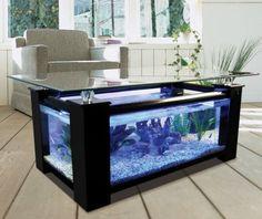 une table en verre avec un cadre de bois et un aquarium intégré