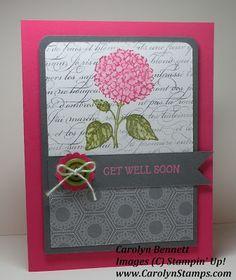 Carolyns Paper Fantasies: Best of Flowers - Stippled Hydrangea Get Well Soon En Francais Stampin' Up Carolyn Bennett
