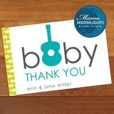 Guitar Baby Shower Thank You Card Printable. $8.00, via Etsy.- so cute!