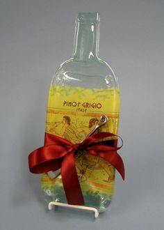 Pinot Grigio Cheese Board Melted Bottle by MitchellGlassworks, $38.00
