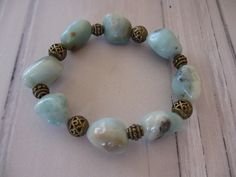 Armband aus Amazonit - Nuggets im boho gipsy Style von  de.dawanda.com/shop/Qulaju