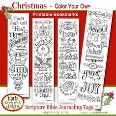 *Please READ DESCRIPTION CAREFULLY * This is a DIGITAL DOWNLOAD * Nothing will be shipped COLOR-YOUR-OWN Christmas Bible Bookmark Collection...