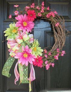 Pink and Green XL Daisy Wreath 20 inch Spring and Summer Wreath Crafts, Diy Wreath, Wreath Ideas, Grapevine Wreath, Tulle Wreath, Deco Mesh Wreaths, Door Wreaths, Ribbon Wreaths, Floral Wreaths
