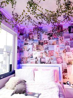 Indie Bedroom, Indie Room Decor, Cute Bedroom Decor, Room Design Bedroom, Girl Bedroom Designs, Room Ideas Bedroom, Aesthetic Room Decor, Bedroom Inspo, Neon Room Decor