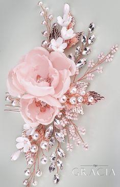 OLIA Rose Peach Blush Bridal Silk Hair Flower Comb by TopGracia #topgraciawedding #bridalhairaccessories #weddingheadband #bridalheadpiece #bridalhairpiece