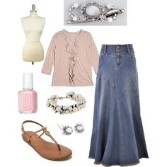 Modest Soft Pink by justlovely541 on Polyvore featuring LOFT, Style J, Tommy Hilfiger, Essie, INC International Concepts and LillaRose