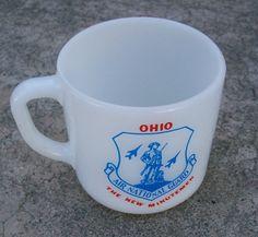 Vintage Mug  Milk Glass  OHIO Air National by therecyclingethic