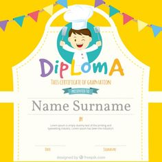Graduation certificate with apron-shape and garlands Free Vector Envelopes, Graduation Presents, Certificate Templates, Free Vector Graphics, Signature Design, 7th Birthday, Elementary Schools, Free Design, Apron