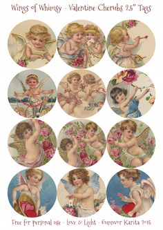 """Wings of Whimsy: Valentine Cherubs 2.5"""" Tags"""