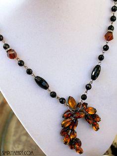 Vintage Topaz Rhinestone and Onyx Necklace~