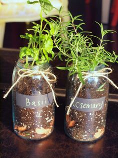Mason Jar Herb Garden with chalkboard painted labels. I would start herbs from seeds: Meet Mina
