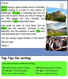 Read about Jenny's holiday in Scotland and do the exercises to practise and improve your writing skills. Teaching English Grammar, English Writing Skills, English Reading, English Fun, Grammar Lessons, English Class, English Lessons, Learn English, English Language