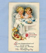 Adorable Children Praying at Table - Thanksgiving Postcard Circa 1915