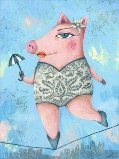 Larry and Friends by Nat Jaspar, illus. by Carla Torres This Little Piggy, Little Pigs, Children's Book Illustration, Graphic Design Illustration, Illustration Animals, Larry, Pig Art, Umbrella Art, Cute Piggies
