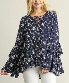 Navy Floral Lace-Up Neck Ruffle-Hem Top
