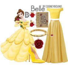 Belle by leslieakay on Polyvore featuring Miss Selfridge, Stuart Weitzman, Disney, Oscar de la Renta, Prom, disney, disneybound and disneycharacter