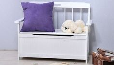 Wooden Kids Storage Bench/Toy Box/Toy Storage Box/ Toy Chest,White,HC-023