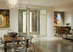Contemporary Sonoma Dining Room with view of the Wine Room
